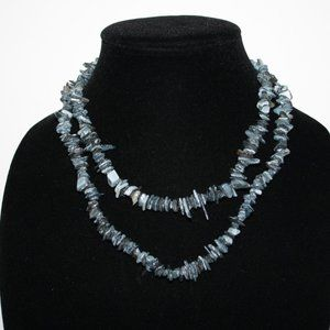 Natural gray stone and shell necklace 36""